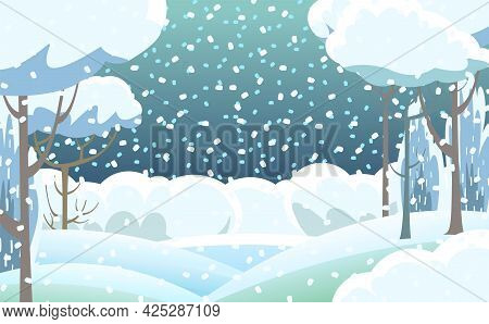 Rural Winter. Snowy Beautiful Landscape. Snowfall. Cartoon Style. Snowdrifts. Hills And Trees. Snow.