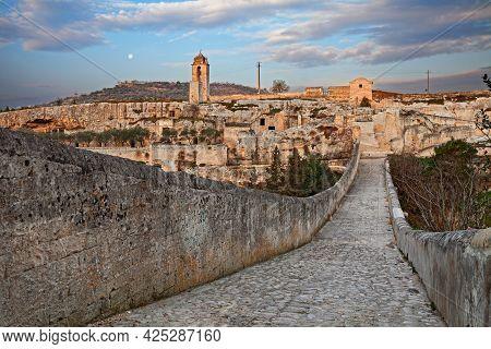 Gravina In Puglia, Bari, Italy: Landscape At Sunrise From The Ancient Aqueduct Bridge Of The Old Roc