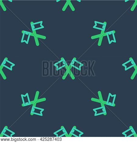 Line Crossed Medieval Flag Icon Isolated Seamless Pattern On Blue Background. Country, State, Or Ter