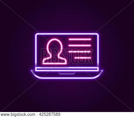 Glowing Neon Line Laptop With Resume Icon Isolated On Black Background. Cv Application. Searching Pr