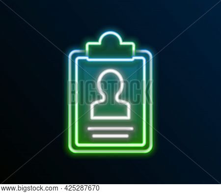 Glowing Neon Line Clipboard With Resume Icon Isolated On Black Background. Cv Application. Curriculu