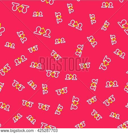 Line Project Team Base Icon Isolated Seamless Pattern On Red Background. Business Analysis And Plann
