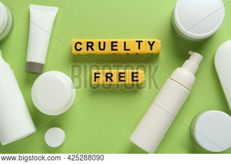 Flat Lay Composition With Words Cruelty Free And Different Cosmetic Products Not Tested On Animals A