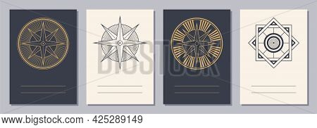 Set Of Flyers, Posters, Placards, Brochure Design Templates A6 Size With Geometric Icons. Compass Lo