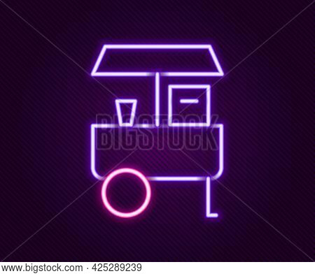 Glowing Neon Line Fast Street Food Cart Icon Isolated On Black Background. Urban Kiosk. Colorful Out