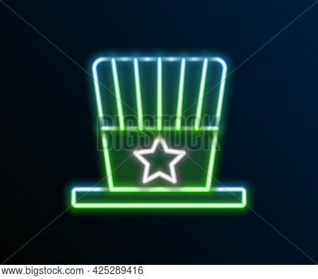 Glowing Neon Line Patriotic American Top Hat Icon Isolated On Black Background. Uncle Sam Hat. Ameri