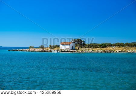 Church On The Island Of St Justina In Adriatic Sea In Croatia, Near Town Of Pakostane