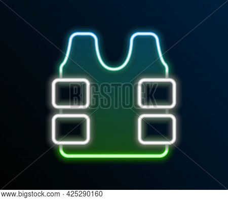 Glowing Neon Line Bulletproof Vest For Protection From Bullets Icon Isolated On Black Background. Bo