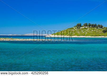 Adriatic Seascape, Beautiful Islands Near Town Of Pakostane In Croatia