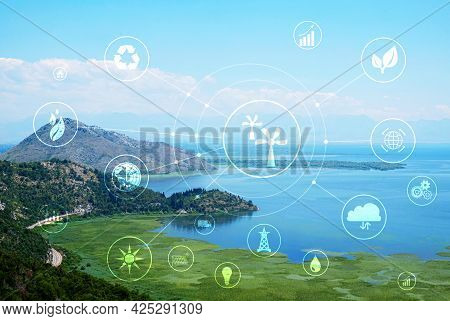 Digital Eco Icons And Beautiful Cove On Sunny Day