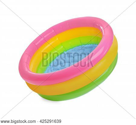 Colorful Inflatable Rubber Pool Isolated On White