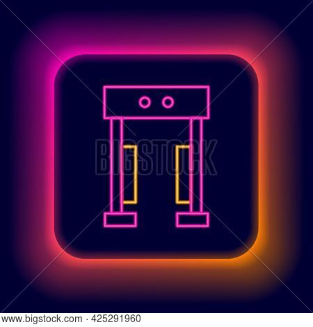 Glowing Neon Line Metal Detector Icon Isolated On Black Background. Airport Security Guard On Metal