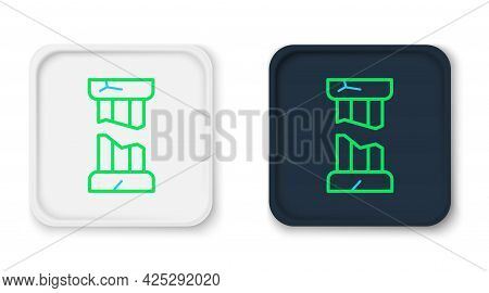 Line Broken Ancient Column Icon Isolated On White Background. Colorful Outline Concept. Vector