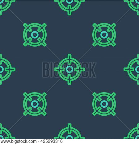 Line Target Sport Icon Isolated Seamless Pattern On Blue Background. Clean Target With Numbers For S