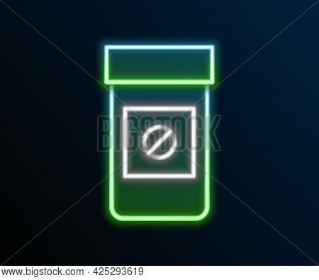 Glowing Neon Line Sports Doping, Anabolic Drugs Icon Isolated On Black Background. Anabolic Steroids