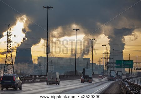 City Ringway With Cars And Air Pollution