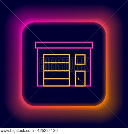 Glowing Neon Line Building Of Fire Station Icon Isolated On Black Background. Fire Department Buildi