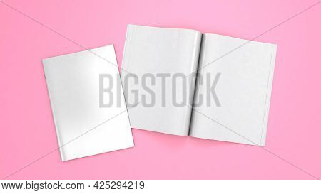 Open Magazine Mockup. Blank Magazine Template For Copy Space. Empty Space In Cover. Pink Background.