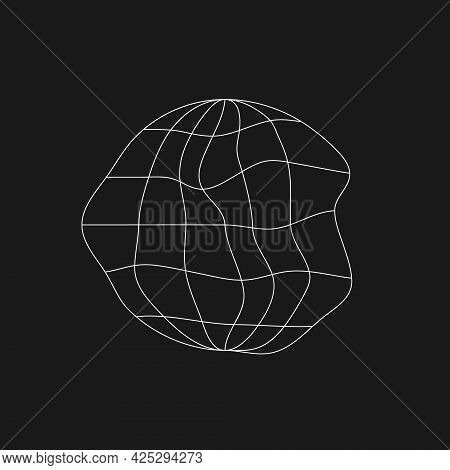 Digital Retro Cyber Planet Design Element With Liquid, Glitch Effect. Retrofuturistic Shape. Shape O