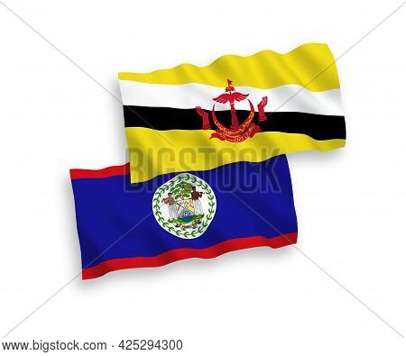 National Fabric Wave Flags Of Brunei And Belize Isolated On White Background. 1 To 2 Proportion.