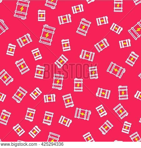 Line Bio Fuel Barrel Icon Isolated Seamless Pattern On Red Background. Eco Bio And Canister. Green E
