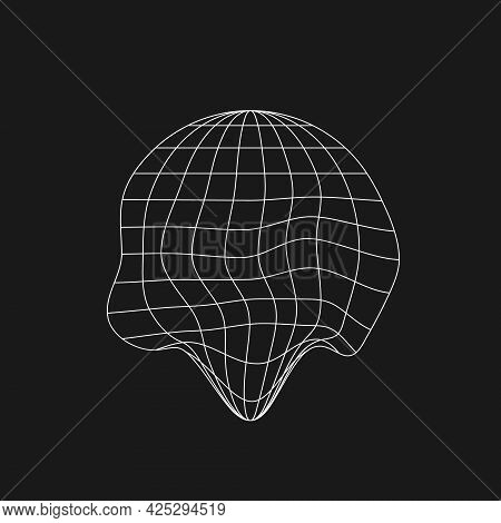 Wireframe Planet Icon In Old Cyberpunk Style With Liquid, Glitch Effect. Retrofuturistic Design Elem
