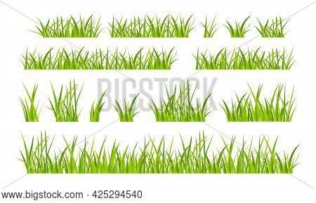 Green Grassland Lawn Field Border Flat Style Design Vector Illustration Set Isolated On White Backgr