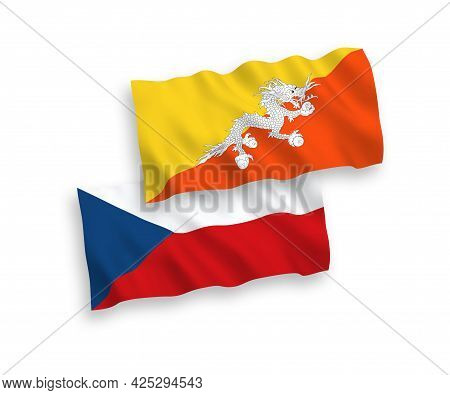 National Fabric Wave Flags Of Czech Republic And Kingdom Of Bhutan Isolated On White Background. 1 T