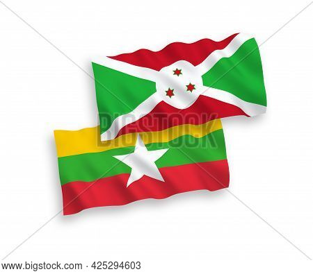 National Fabric Wave Flags Of Burundi And Myanmar Isolated On White Background. 1 To 2 Proportion.
