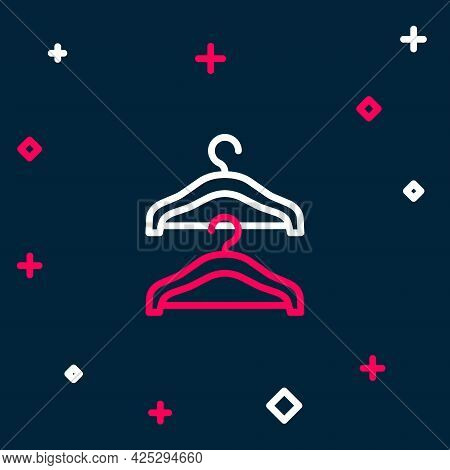 Line Hanger Wardrobe Icon Isolated On Blue Background. Cloakroom Icon. Clothes Service Symbol. Laund