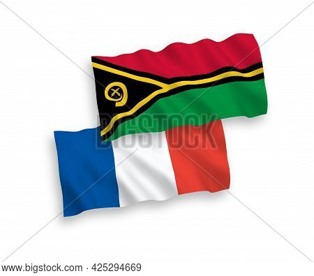 National Fabric Wave Flags Of France And Republic Of Vanuatu Isolated On White Background. 1 To 2 Pr