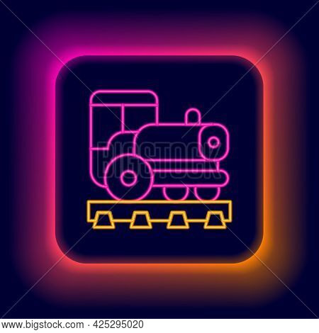 Glowing Neon Line Vintage Locomotive Icon Isolated On Black Background. Steam Locomotive. Colorful O