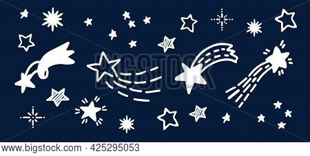 Doodle Comets And Stars Hand Drawn Sketch. Starry Doodles Vector Illustration Backdrop. Star And Com