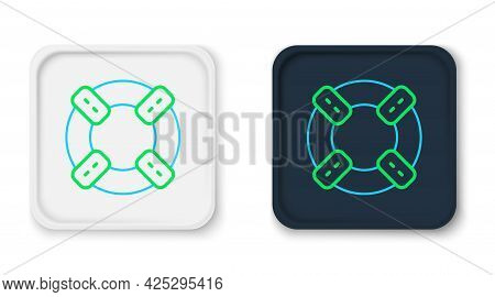 Line Lifebuoy Icon Isolated On White Background. Lifebelt Symbol. Colorful Outline Concept. Vector