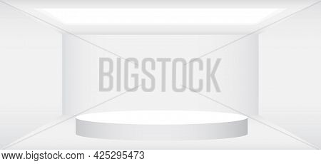 Empty White Room With White Round Stage Vector Illustration. Abstract 3d Interior Template For Backg