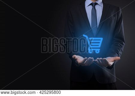 Businessman Man Holding Shopping Cart Trolley Mini Cart In Business Digital Payment Interface.busine