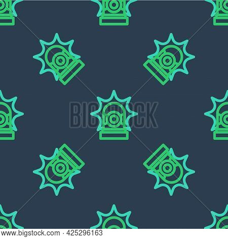 Line Flasher Siren Icon Isolated Seamless Pattern On Blue Background. Emergency Flashing Siren. Vect