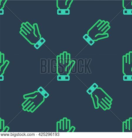 Line Firefighter Gloves Icon Isolated Seamless Pattern On Blue Background. Protect Gloves Icon. Vect