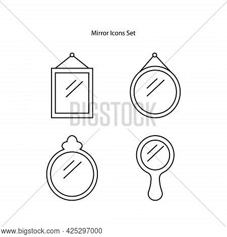 Mirror Icons Set Isolated On White Background. Mirror Icon Thin Line Outline Linear Mirror Symbol Fo