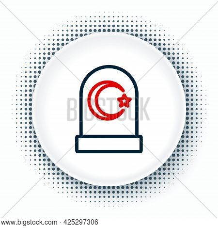 Line Muslim Cemetery Icon Isolated On White Background. Islamic Gravestone. Colorful Outline Concept