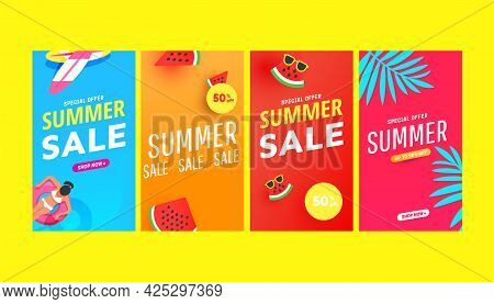 Summer Story Vector Illustration Pack With Tropical Leaves, Bubble Forms And Beach Accessories Patte