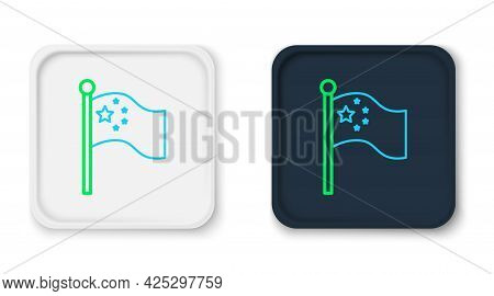 Line China Flag On Flagpole Icon Isolated On White Background. Colorful Outline Concept. Vector
