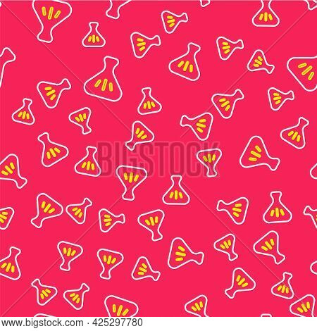 Line Dumpling Icon Isolated Seamless Pattern On Red Background. Traditional Chinese Dish. Vector