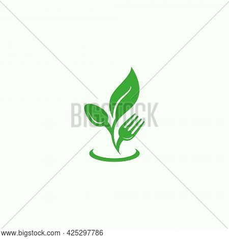 Vector Illustration Of Leaves, Spoons, Cutlery. Vegetable Food Icon. Healthy Food Symbol. Logo Of Re