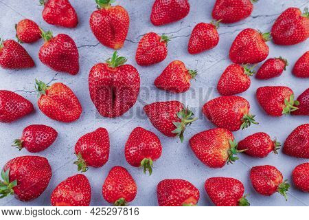Strawberry Background. Red Berries Strawberries. Summer Harvest. Strawberry Pattern Top View