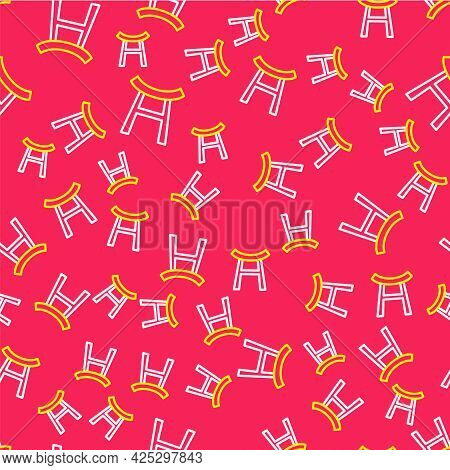 Line Japan Gate Icon Isolated Seamless Pattern On Red Background. Torii Gate Sign. Japanese Traditio