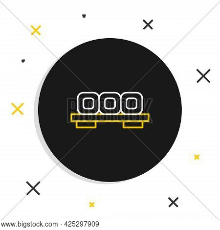 Line Sushi On Cutting Board Icon Isolated On White Background. Asian Food Sushi On Wooden Board. Col