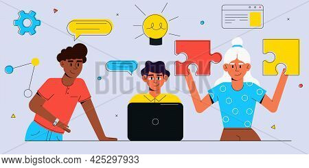 Team Of Young Professionals Working Together. Flat Style Business People.business Concept Illustrati
