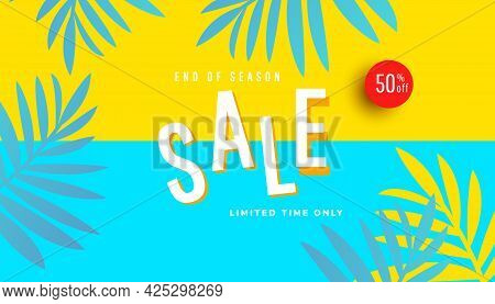 End Of Season Summer Sale Banner, Hot Season Discount Poster On Yellow Background. Promotion Banner