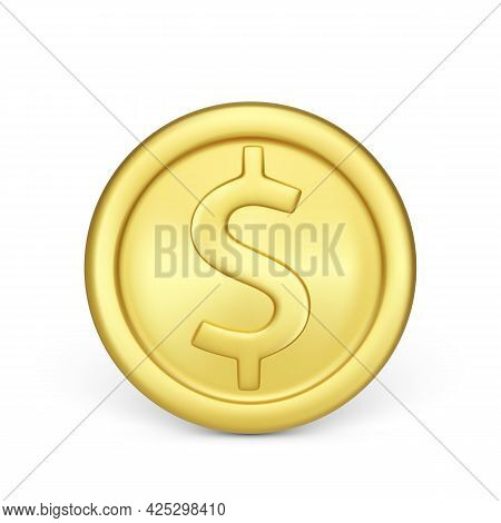 Golden Coin Front View. Finance And Money. Realistic Render Of Metallic Coin. Vector Illustration Is